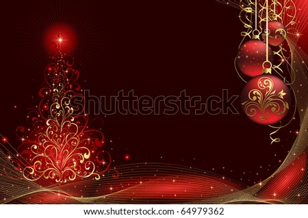 Background with stars, balls and Christmas tree from ornate elements, illustration - stock vector