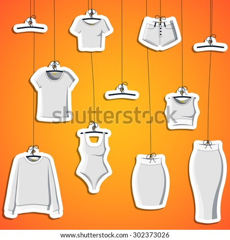 Background with stickers of modern clothes hanging on a thread. Background with clothes. Bound label. Vector - stock vector