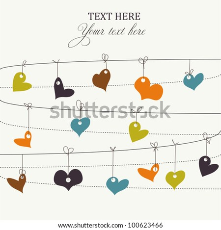 Background with stylish doodle colorful hearts - stock vector
