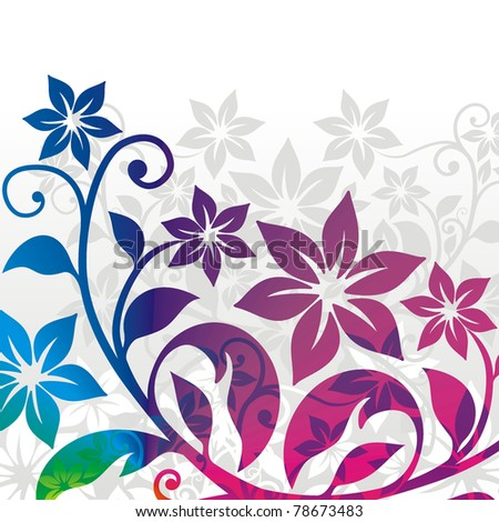 background with stylized bright floral elements - stock vector