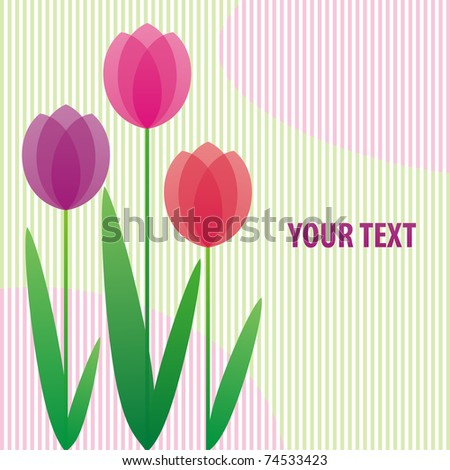 background with stylized bright tulips with space for your text - stock vector