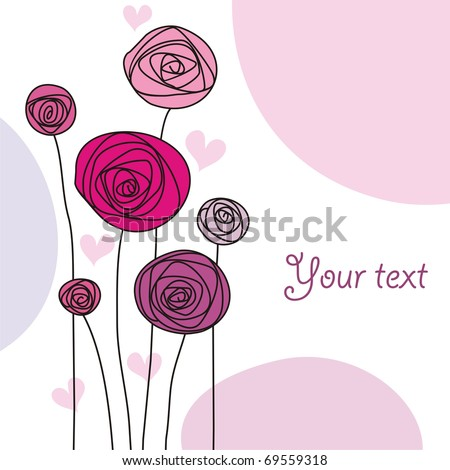 background with stylized flowers in pink colors with space for text - stock vector