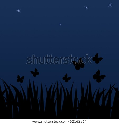 Background with summer night butterflies and stars