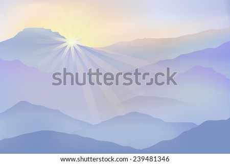 Background with sun and mountains in the fog. EPS10 vector - stock vector