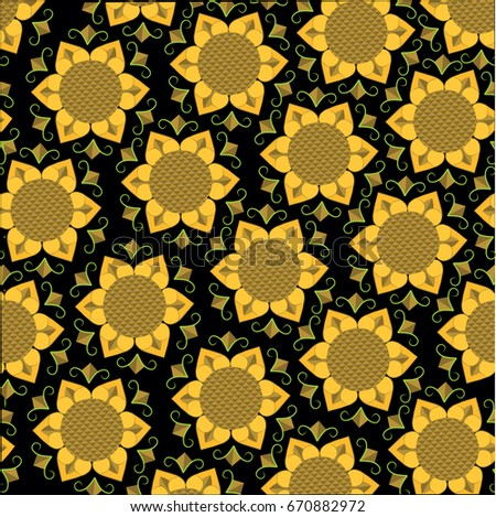 Background With Sunflower Pattern Yellow Flowers Over Black Wallpaper Backdrop Texture