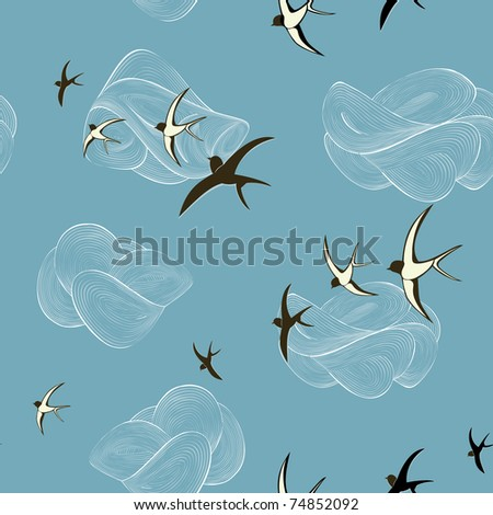 Background with swallows - stock vector