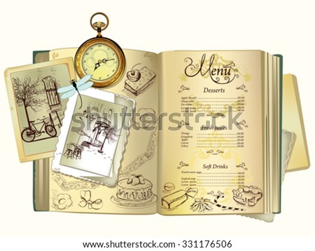 Background with sweets and cakes for menu design. Old book with old photos. Hand drawn illustration for menu design, brochures, cards etc. - stock vector