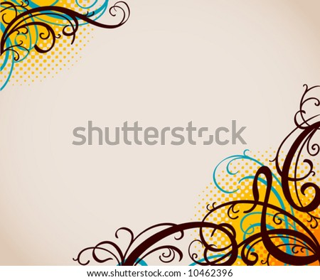 background with swirls and halftone pattern - stock vector