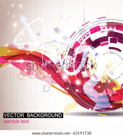 Background with techno circle and waves - stock vector
