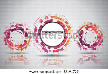 Background with techno circle banner - stock vector