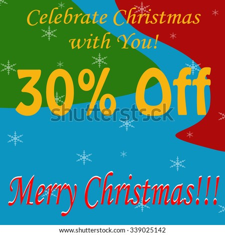 Background with text Merry Christmas-30% Off,vector illustration - stock vector