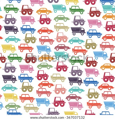 Background with the image of cars in different colors. - stock vector