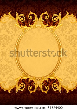 Background with the old frame, vector - stock vector