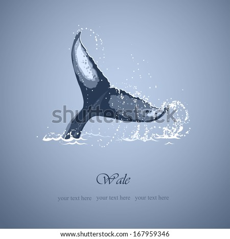 background with the tail of a whale and sea surge - stock vector