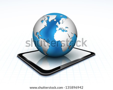 Background with touch tablet model with blue globe hologram.