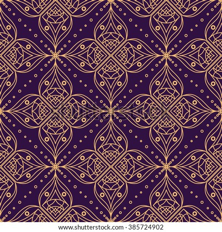 Background with traditional Arabic floral geometric pattern. Vector illustration in orange and violet colors. - stock vector