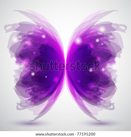 Background with transparent butterfly's shape - stock vector