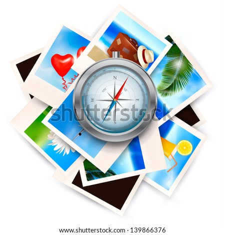 Background with travel photos and compass. Vector illustration. - stock vector