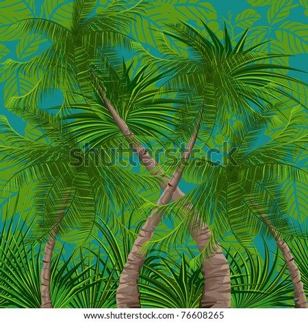Background with tropical plants - stock vector