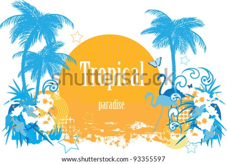 Background with tropical plants flowers butterflies and  flamingo