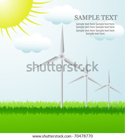 background with turbine and sun - stock vector