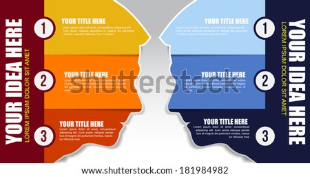 Background with two heads in opposition and three steps in them - stock vector