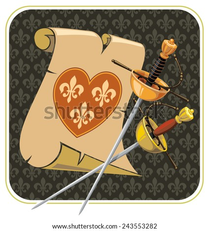 Background with two swords and scroll - stock vector