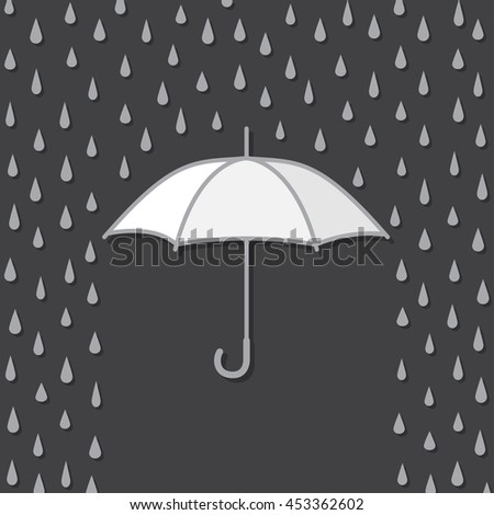 Background with umbrella protects from rain, vector illustration - stock vector