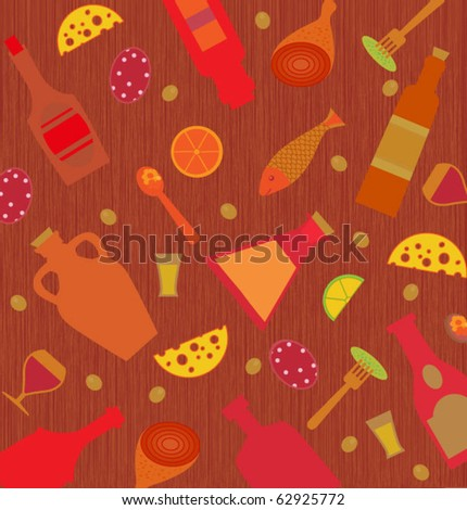 Background with various images of food and drink - stock vector
