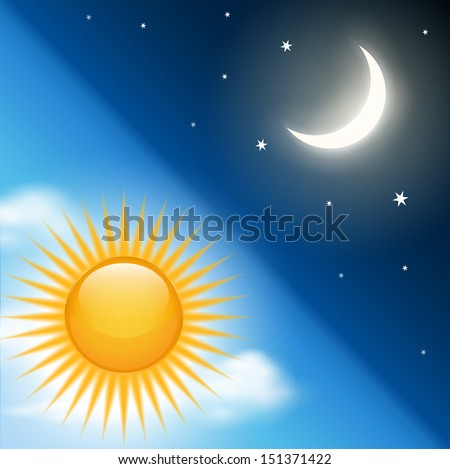 Background with vector day night theme. - stock vector