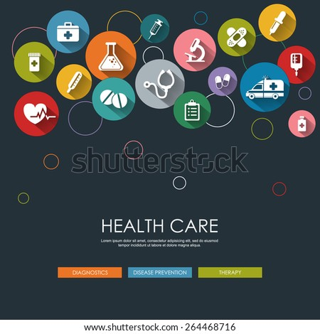 Background with vector Medical Icons in flat style with long shadows. Health care background. Medical white icons on colored basis. - stock vector
