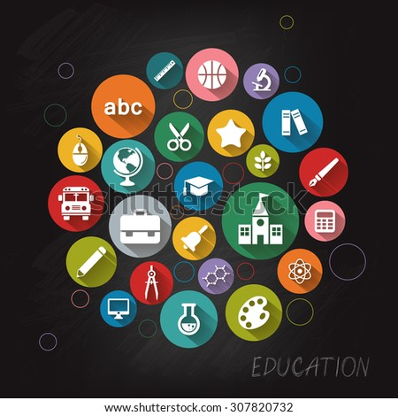 Background with vector School and Education flat icons, white on colored basis with long shadow. Education background on blackboard - stock vector
