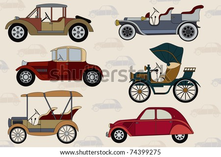 Background with vintage cars - stock vector