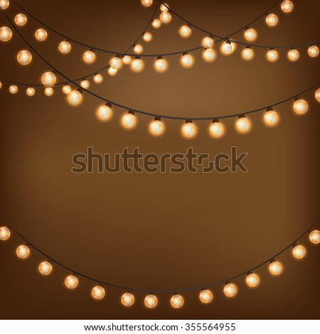 Background With Vintage Garlands Vector EPS10 Christmas Lights