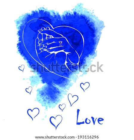 background with watercolo rblue heart - stock vector