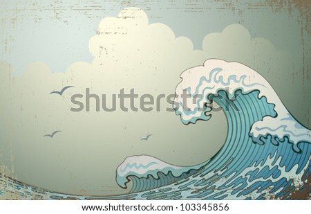background with waves - stock vector