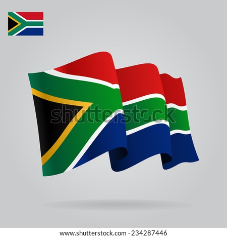 Background with waving South Africa Flag. Vector illustration - stock vector