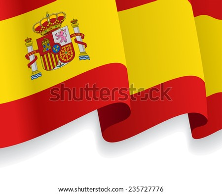 Background with waving Spanish Flag. Vector illustration - stock vector