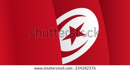 Background with waving Tunisia Flag. Vector illustration