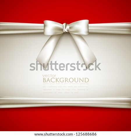 background with white bow - stock vector