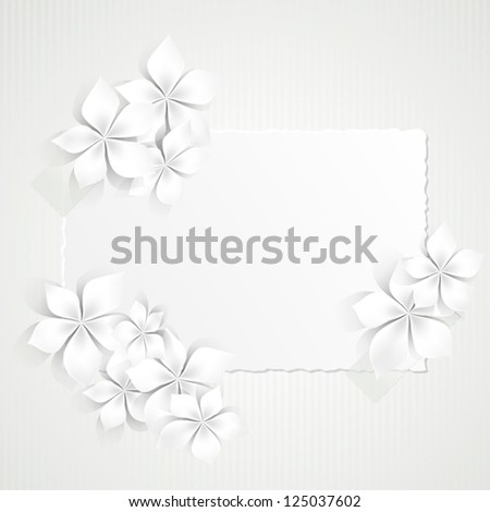 Background with white flowers and copy space - stock vector