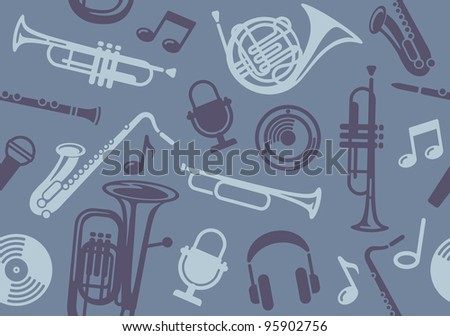 Background with wind musical instruments - stock vector