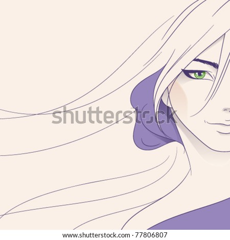 Background with young woman face - stock vector