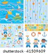 Backgrounds and design elements for baby boy  scrapbook,   small sailor - stock vector