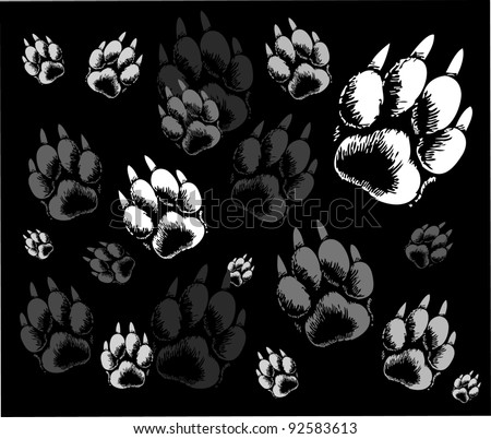 backgrounds animal tracks - stock vector