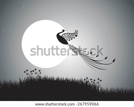 backgrounds night sky with stars and moon and bird. vector - stock vector
