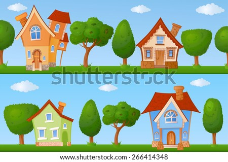Backgrounds Of Summer Streets With Fabulous Houses And Trees
