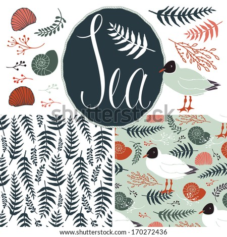 Backgrounds with gulls and ferns. Sea set - stock vector