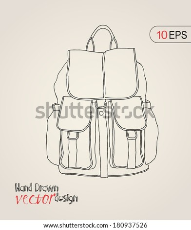backpack, bag, carry-on baggage - stock vector