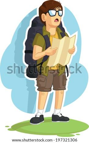 Backpacker Boy Reading Road Map - stock vector